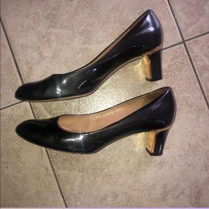 Salvatore Ferragamo Patent Heels Gold Detailing!!